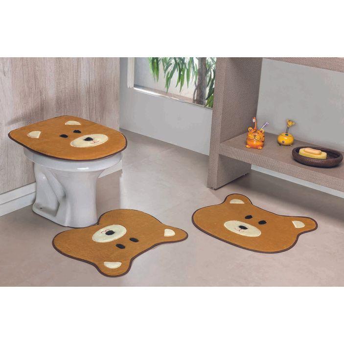 Jogo-de-Tapete-de-Banheiro-Infantil-3-Pecas-Formato-Urso---Caramelo