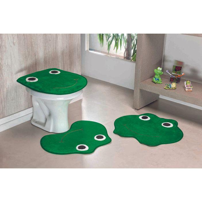 Jogo-de-Tapete-de-Banheiro-Infantil-3-Pecas-Formato-Sapo---Verde-Bandeira