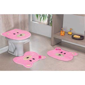 Jogo-de-Tapete-de-Banheiro-Infantil-3-Pecas-Formato-Ursa-Rosa