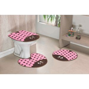Jogo-de-Tapete-de-Banheiro-Infantil-3-Pecas-Formato-Joaninha-Rosa