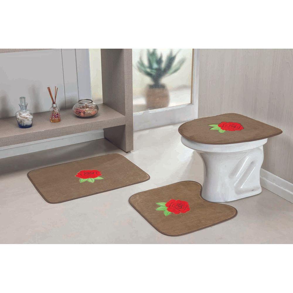 4441b7524a Jogo de Tapete de Banheiro 3 Peças Formato Margarida Folha ...