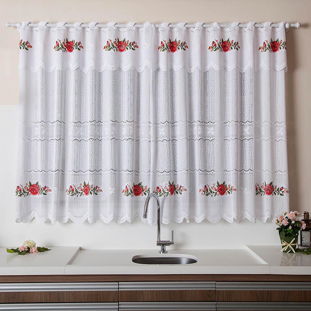 Cortina Para Cozinha De Renda Branca Floral 220cm X 150cm 30cm