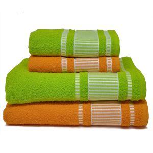 Jogo-de-Toalhas-banhao-viena-4-pecas-Verde-e-laranja