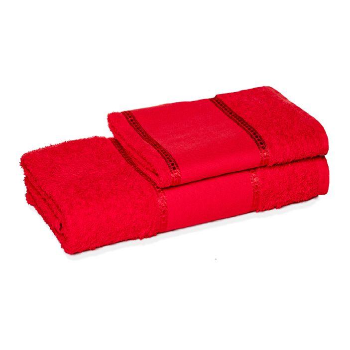 jogo-de-toalha-de-banho-e-rosto-ponto-russo-vermelho