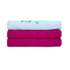 Jogo-de-toalha-de-banho-com-3-pecas-lisboa-e-italia-Fucsia-e-floral-rosa
