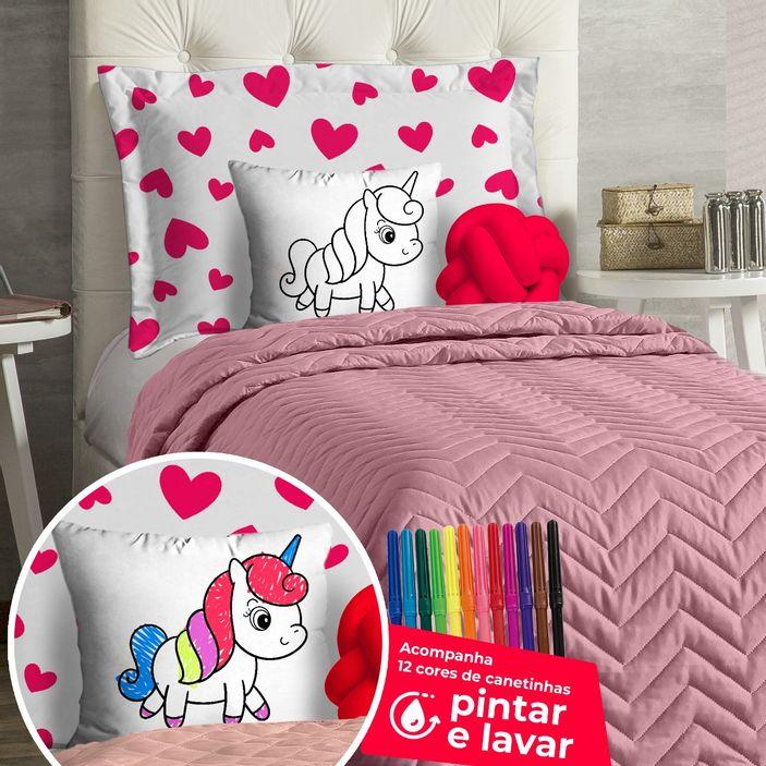 cobre-leito-infantil-solteiro-para-pintar-com-7-pecas-diverkids-unicornio