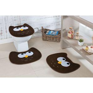 Jogo-de-Tapete-de-Banheiro-Infantil-3-Pecas-Formato-coruja-cafe
