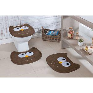 Jogo-de-Tapete-de-Banheiro-Infantil-3-Pecas-Formato-coruja-castor