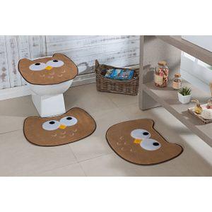 Jogo-de-Tapete-de-Banheiro-Infantil-3-Pecas-Formato-coruja-bege