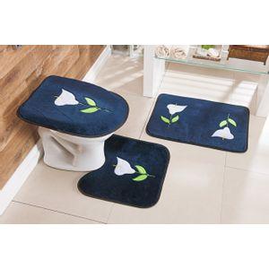 Jogo-de-Tapete-de-Banheiro-Bordado-3-Pecas-Copo-de-Leite-azul-marinho
