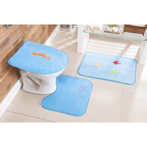 Jogo-de-Tapete-de-Banheiro-Bordado-3-Pecas-fundo-do-mar-azul-turquesa