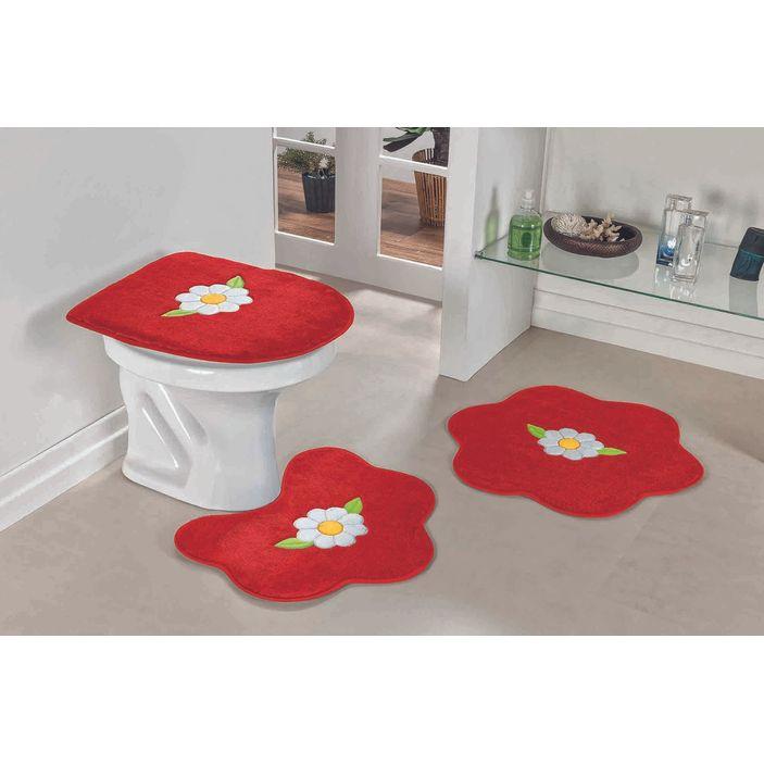 Jogo-de-Tapete-de-Banheiro-Bordado-3-Pecas-margarida-folha-vermelho